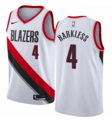 Mens Nike Portland Trail Blazers 4 Moe Harkless Authentic White Home NBA Jersey Association Edition