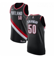 Mens Nike Portland Trail Blazers 50 Caleb Swanigan Authentic Black Road NBA Jersey Icon Edition