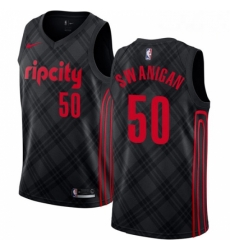 Mens Nike Portland Trail Blazers 50 Caleb Swanigan Swingman Black NBA Jersey City Edition