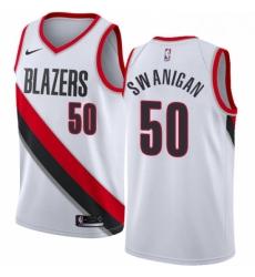 Mens Nike Portland Trail Blazers 50 Caleb Swanigan Swingman White Home NBA Jersey Association Edition