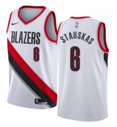 Mens Nike Portland Trail Blazers 6 Nik Stauskas Swingman White NBA Jersey Association Edition