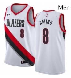 Mens Nike Portland Trail Blazers 8 Al Farouq Aminu Swingman White Home NBA Jersey Association Edition