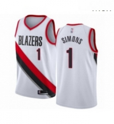 Mens Portland Trail Blazers 1 Anfernee Simons Authentic White Basketball Jersey Association Edition