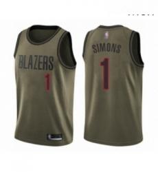 Mens Portland Trail Blazers 1 Anfernee Simons Swingman Green Salute to Service Basketball Jersey