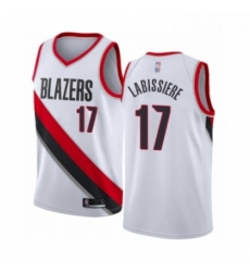 Mens Portland Trail Blazers 17 Skal Labissiere Authentic White Basketball Jersey Association Edition