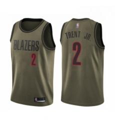 Mens Portland Trail Blazers 2 Gary Trent Jr Swingman Green Salute to Service Basketball Jersey
