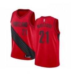 Mens Portland Trail Blazers 21 Hassan Whiteside Authentic Red Basketball Jersey Statement Edition