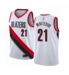 Mens Portland Trail Blazers 21 Hassan Whiteside Authentic White Basketball Jersey Association Edition