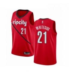 Mens Portland Trail Blazers 21 Hassan Whiteside Red Swingman Jersey Earned Edition