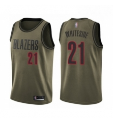 Mens Portland Trail Blazers 21 Hassan Whiteside Swingman Green Salute to Service Basketball Jersey