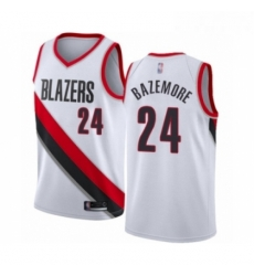 Mens Portland Trail Blazers 24 Kent Bazemore Authentic White Basketball Jersey Association Edition