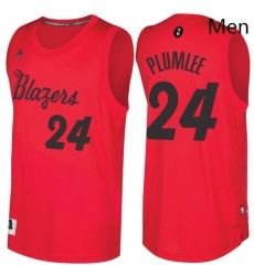 Mens Portland Trail Blazers 24 Mason Plumlee Red 2016 2017 Christmas Day NBA Swingman Jersey