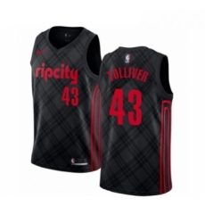 Mens Portland Trail Blazers 43 Anthony Tolliver Authentic Black Basketball Jersey City Edition