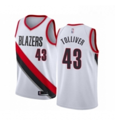Mens Portland Trail Blazers 43 Anthony Tolliver Authentic White Basketball Jersey Association Edition
