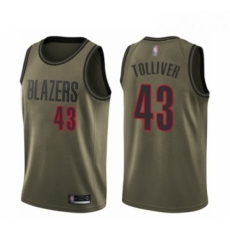Mens Portland Trail Blazers 43 Anthony Tolliver Swingman Green Salute to Service Basketball Jersey
