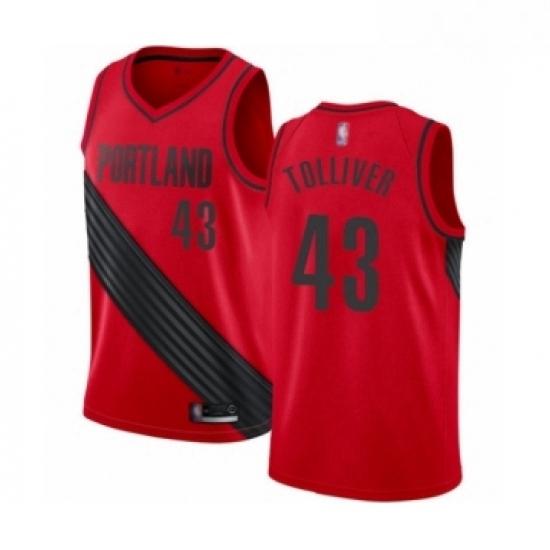 Mens Portland Trail Blazers 43 Anthony Tolliver Swingman Red Basketball Jersey Statement Edition