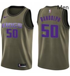 Mens Nike Sacramento Kings 50 Zach Randolph Swingman Green Salute to Service NBA Jersey