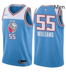 Mens Nike Sacramento Kings 55 Jason Williams Authentic Blue NBA Jersey City Edition