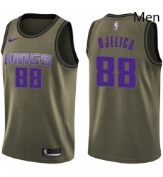 Mens Nike Sacramento Kings 88 Nemanja Bjelica Swingman Green Salute to Service NBA Jersey