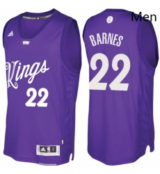 Mens Sacramento Kings 22 Matt Barnes Purple 2016 2017 Christmas Day NBA Swingman Jersey
