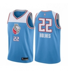 Mens Sacramento Kings 22 Richaun Holmes Authentic Blue Basketball Jersey City Edition
