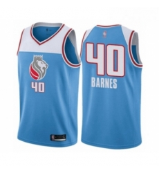 Mens Sacramento Kings 40 Harrison Barnes Authentic Blue Basketball Jersey City Edition