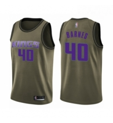 Mens Sacramento Kings 40 Harrison Barnes Swingman Green Salute to Service Basketball Jersey