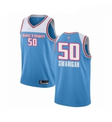 Mens Sacramento Kings 50 Caleb Swanigan Authentic Blue Basketball Jersey 2018 19 City Edition