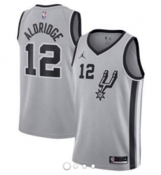 Men Jordan San Antonio Spurs 12 LaMarcus Aldridge Swingman Silver Alternate NBA Jersey Statement Edition