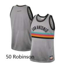 Men Spurs 50 David Robinson Nike City Edition Grey Jersey