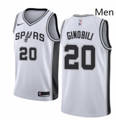 Mens Nike San Antonio Spurs 20 Manu Ginobili Authentic White Home NBA Jersey Association Edition