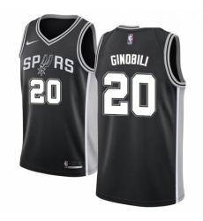 Mens Nike San Antonio Spurs 20 Manu Ginobili Swingman Black Road NBA Jersey Icon Edition