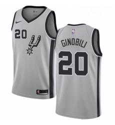 Mens Nike San Antonio Spurs 20 Manu Ginobili Swingman Silver Alternate NBA Jersey Statement Edition