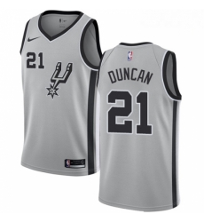 Mens Nike San Antonio Spurs 21 Tim Duncan Authentic Silver Alternate NBA Jersey Statement Edition