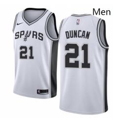 Mens Nike San Antonio Spurs 21 Tim Duncan Swingman White Home NBA Jersey Association Edition