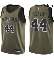 Mens Nike San Antonio Spurs 44 George Gervin Swingman Green Salute to Service NBA Jersey
