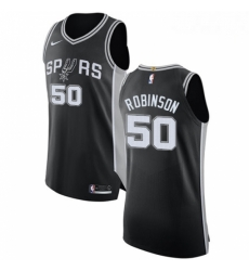 Mens Nike San Antonio Spurs 50 David Robinson Authentic Black Road NBA Jersey Icon Edition