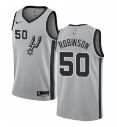 Mens Nike San Antonio Spurs 50 David Robinson Authentic Silver Alternate NBA Jersey Statement Edition