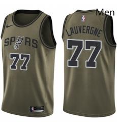 Mens Nike San Antonio Spurs 77 Joffrey Lauvergne Swingman Green Salute to Service NBA Jersey