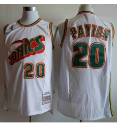 Men Seattle SuperSonics Gary Payton 20 White Mitchell Ness Jersey