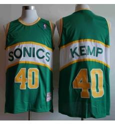 Men Seattle SuperSonics SHAWN KEMP 40 Mitchell Ness Jersey Green
