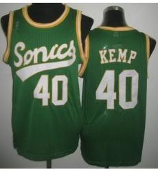 Seattle SuperSonics 40 Shawn Kemp Green Throwback Revolution 30 NBA Basketball Jerseys