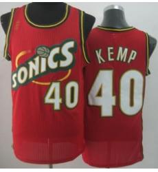 Seattle SuperSonics 40 Shawn Kemp Red Throwback Revolution 30 NBA Basketball Jerseys