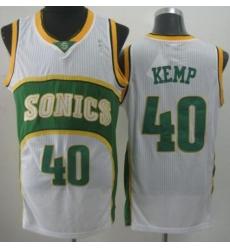 Seattle SuperSonics 40 Shawn Kemp White Throwback Revolution 30 NBA Basketball Jerseys