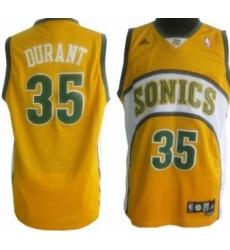 Seattle Supersonics #35 Kevin Durant Yellow Swingman Jerseys