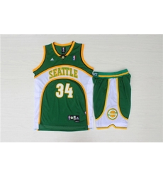 Supersonics 34 Ray Allen Green Swingman Jersey With Shorts