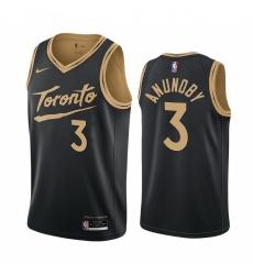 Men Nike Toronto Raptors 3 OG Anunoby Black NBA Swingman 2020 21 City Edition Jersey