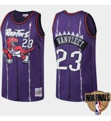 Men Raptors #23 Fred VanVleet Purple Throwback NBA Jersey