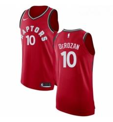 Mens Nike Toronto Raptors 10 DeMar DeRozan Authentic Red Road NBA Jersey Icon Edition