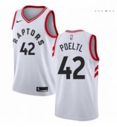 Mens Nike Toronto Raptors 42 Jakob Poeltl Swingman White NBA Jersey Association Edition